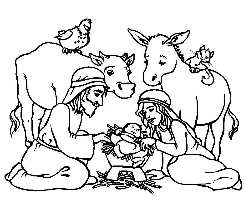 Christmas Stable Coloring Page At Getdrawings Com Free For