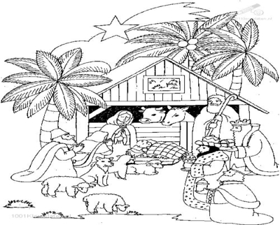 400x322 Christmas Stable Coloring Page Image Clipart Images