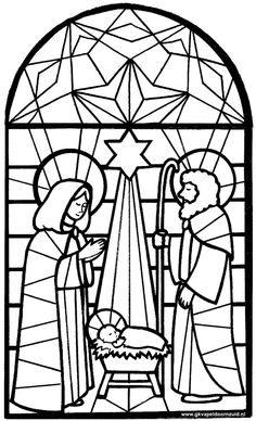 236x388 Arts Craft Nativity Color Your Own Stained Glass