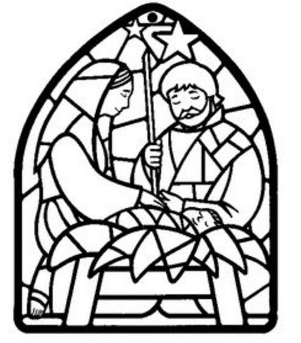 428x487 Angel Stained Glass Coloring Page