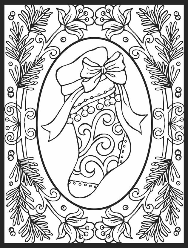 630x830 Christmas Cheer! Stained Glass Coloring Book Dover Publications
