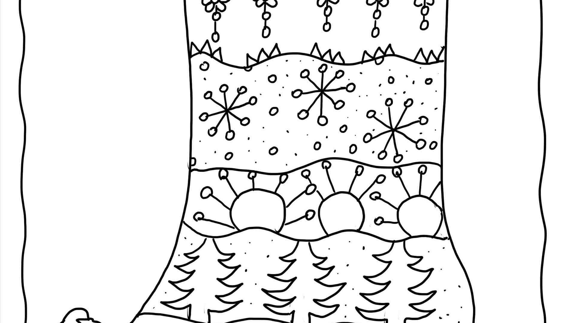 1899x1080 Christmas Stocking Coloring Pages Pattern Pictures Of Christmas