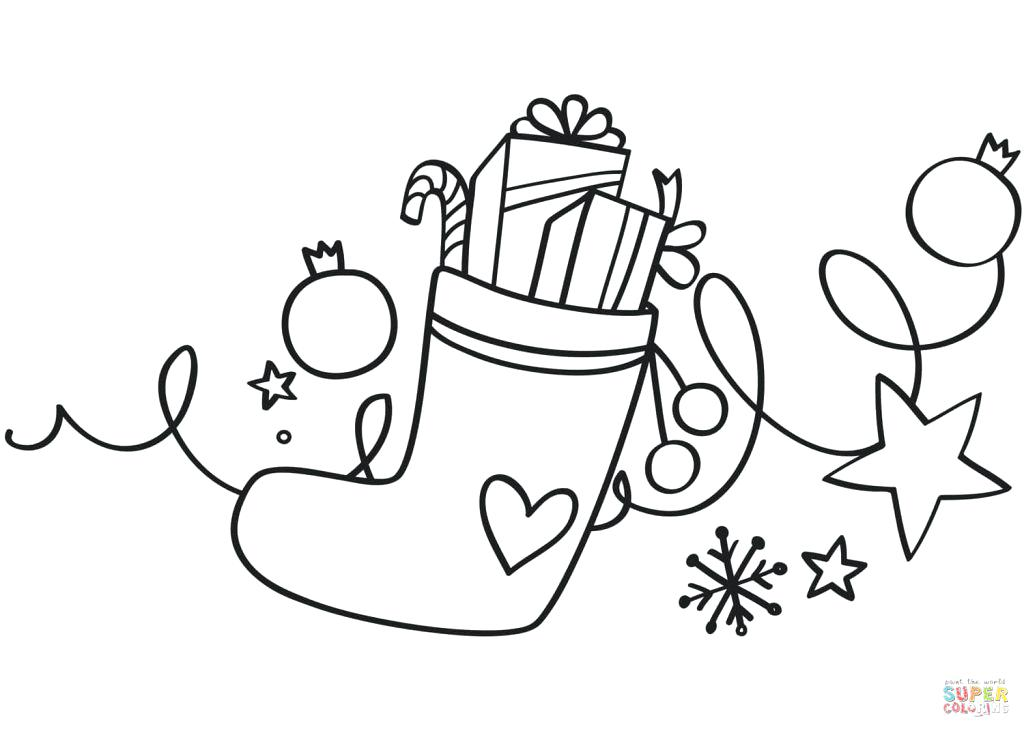 1024x731 Christmas Stockings Coloring Pages Stocking Photo Free Download
