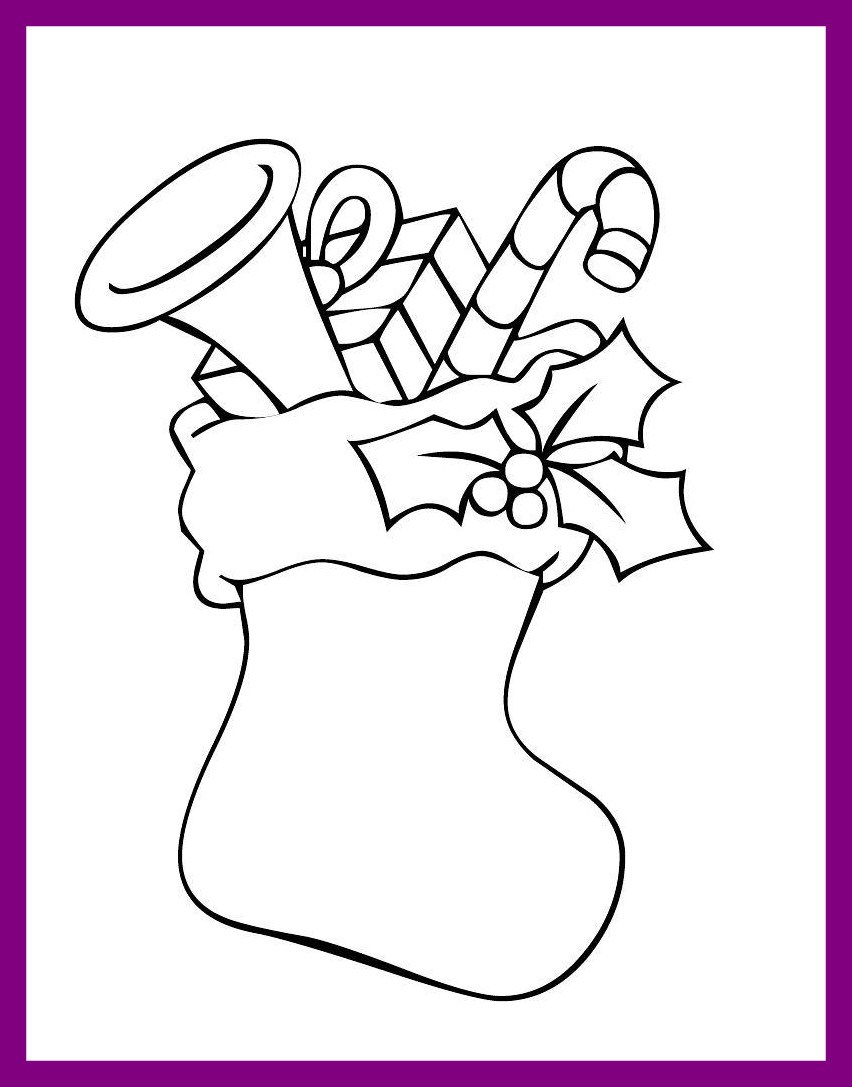 852x1087 Fascinating Christmas Stocking Coloring Pages Best For Kids Image