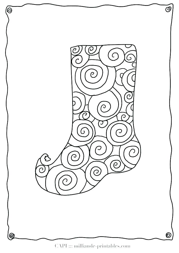 736x1041 Stocking Coloring Sheets Stocking Coloring Page Classy Stocking