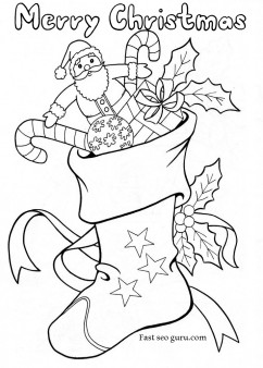 242x338 Christmas Stockings With Candy And Toys Coloring Pages