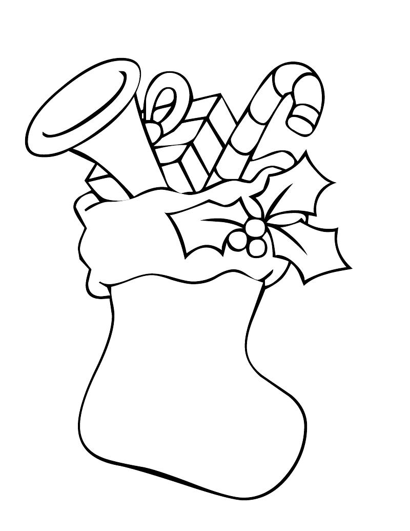 Christmas Stocking Coloring Pages Pattern