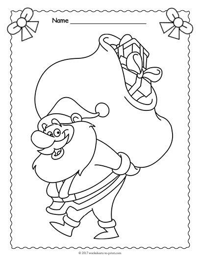 408x528 Free Printable Santa Claus Coloring Page Christmas Worksheets
