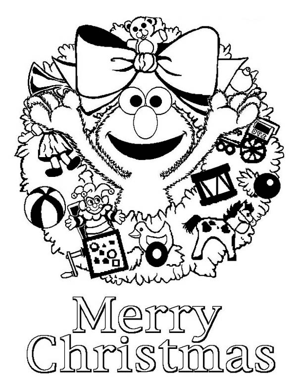 600x785 Happy Merry Christmas From Elmo On Christmas Coloring Page Color