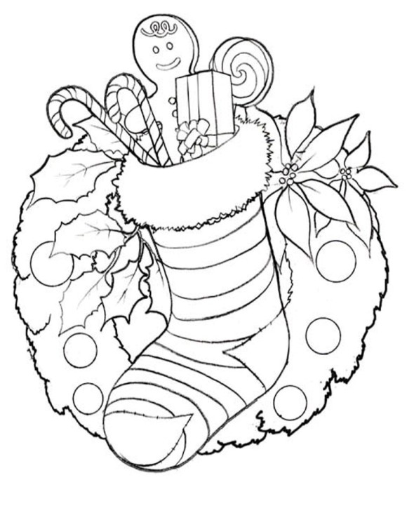 580x731 Christmas Flowers Coloring Pages Merry Christmas