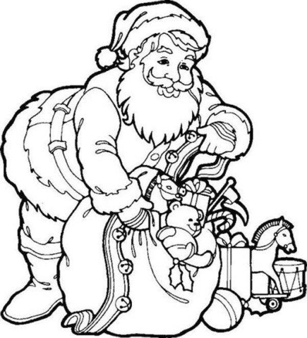 600x660 Santa And Christmas Toys Coloring Page