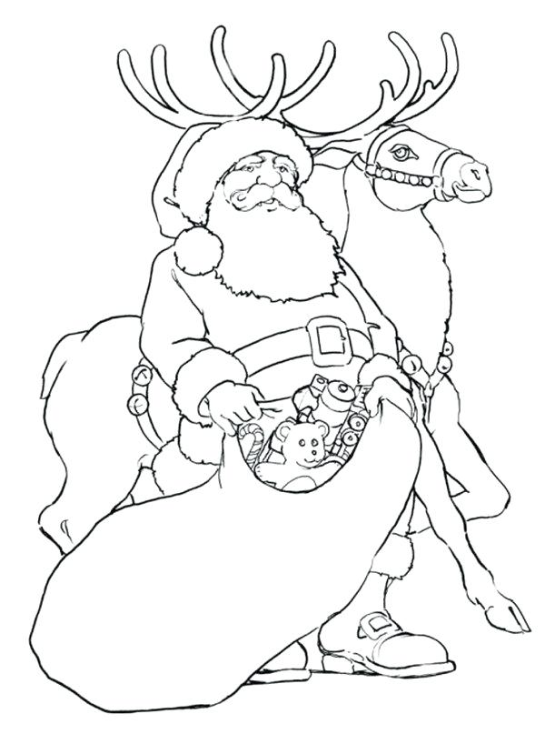 600x807 Christmas Coloring Pages Reindeer And Reindeer Giving Toys