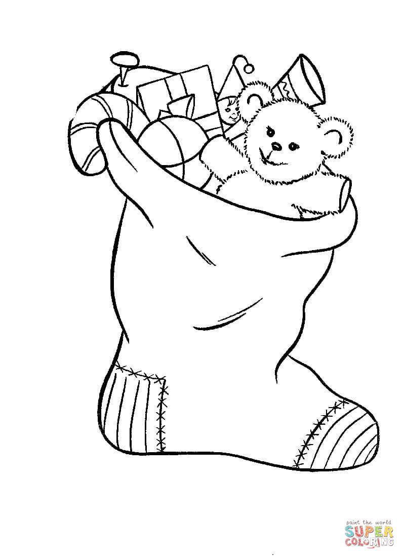 800x1104 Christmas Stocking Toys Coloring Pages