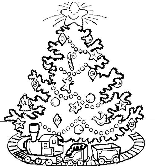 500x536 Electric Train Under A Christmas Tree Coloring Page Christmas