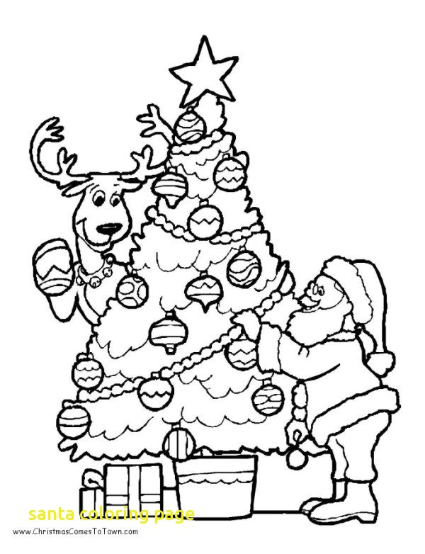 600x782 Santa Coloring Page With Christmas Tree Coloring Pages Santa