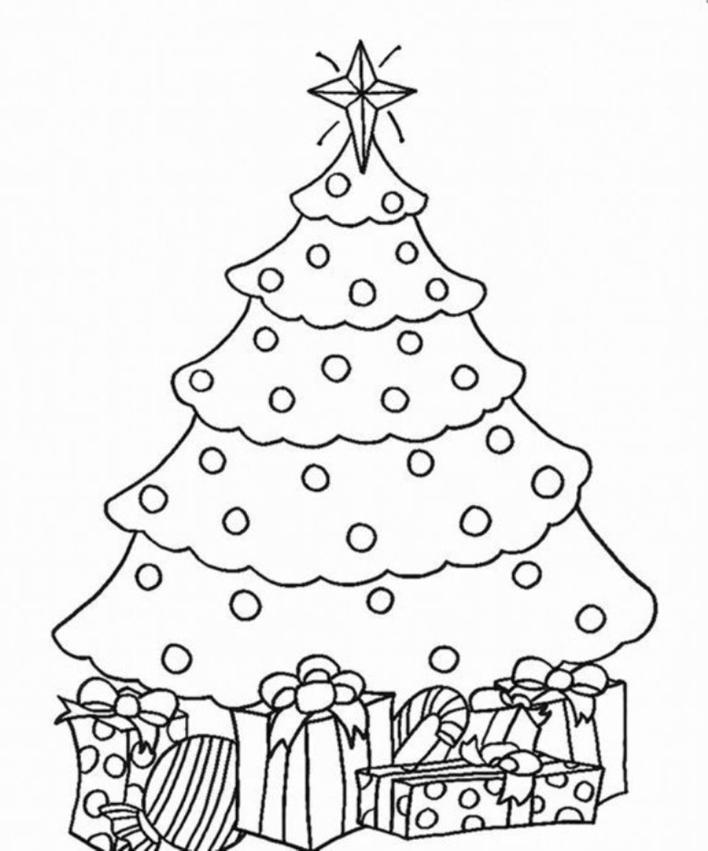 1029x1237 New Fir Tree Coloring Page Christmas Drawing F