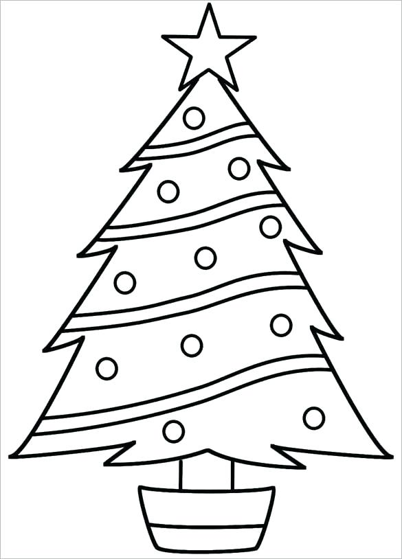 585x814 Christmas Tree Coloring Pages Online Tree Templates Free Printable