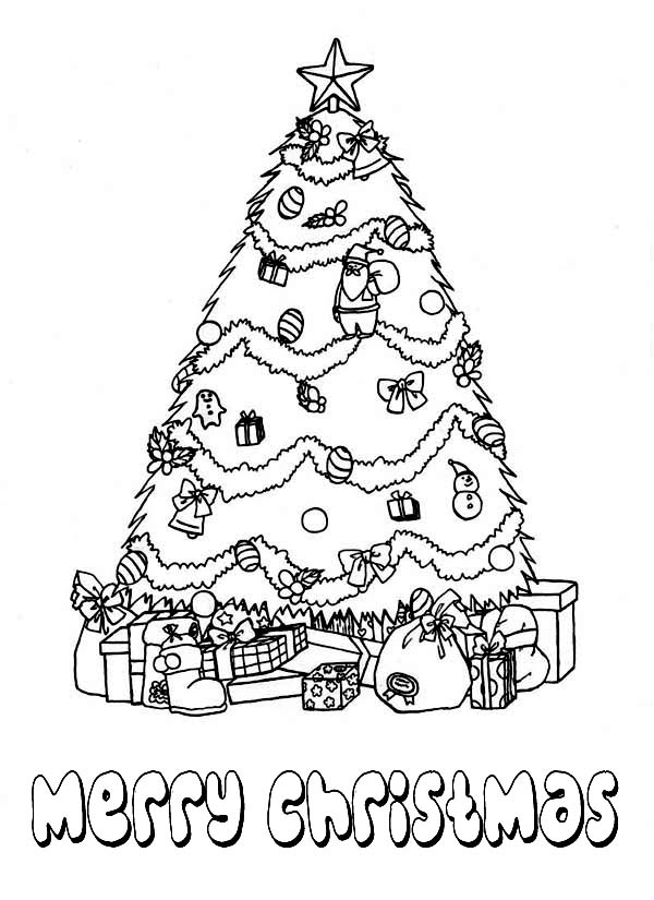 600x825 Beautiful Christmas Tree With Bunch Of Gifts Coloring Page
