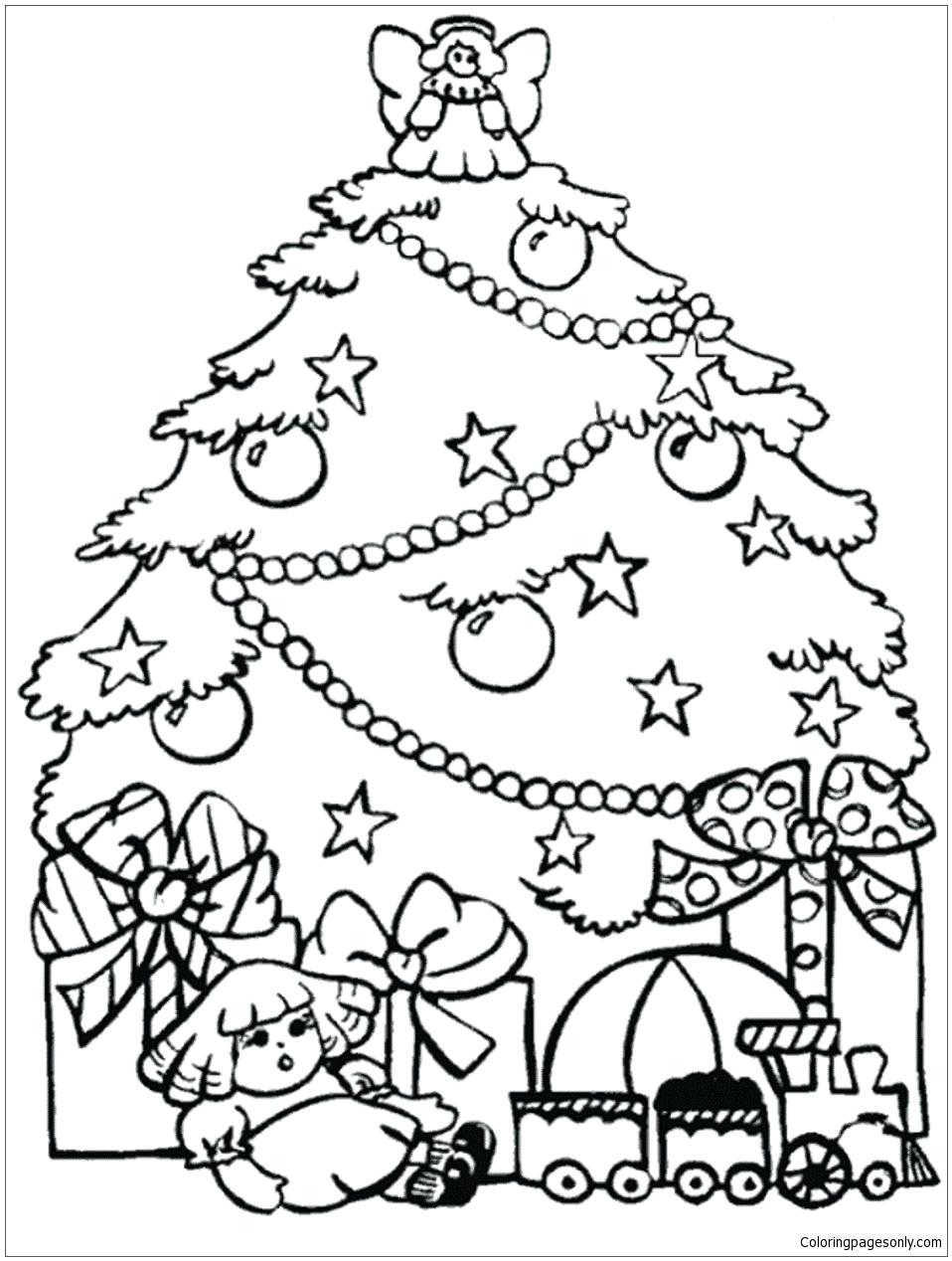 958x1268 Coloring Page Christmas Trees Coloring Pages Presents And Tree