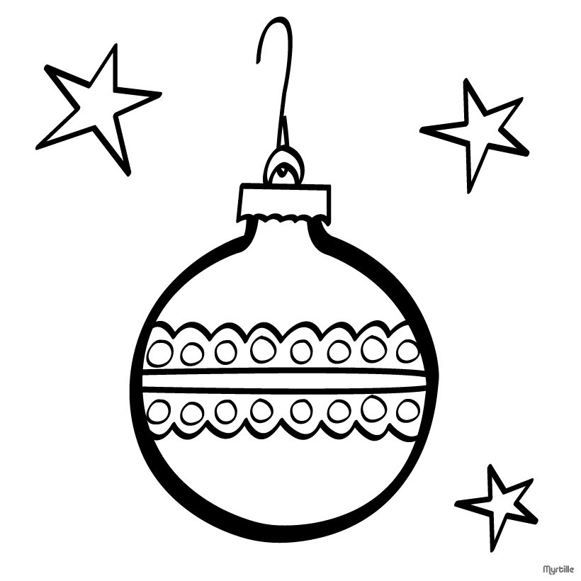 820x820 Xmas Tree Vintage Ornaments Coloring Pages