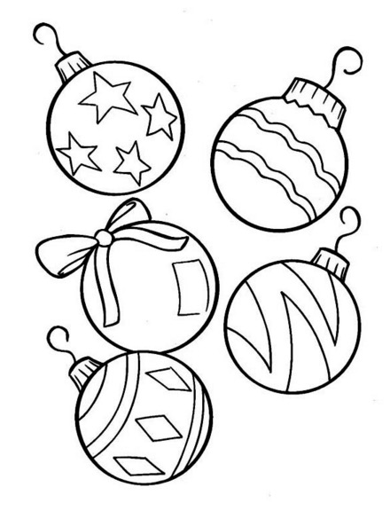 440x576 Christmas Tree Ornaments Coloring Page Coloring Book