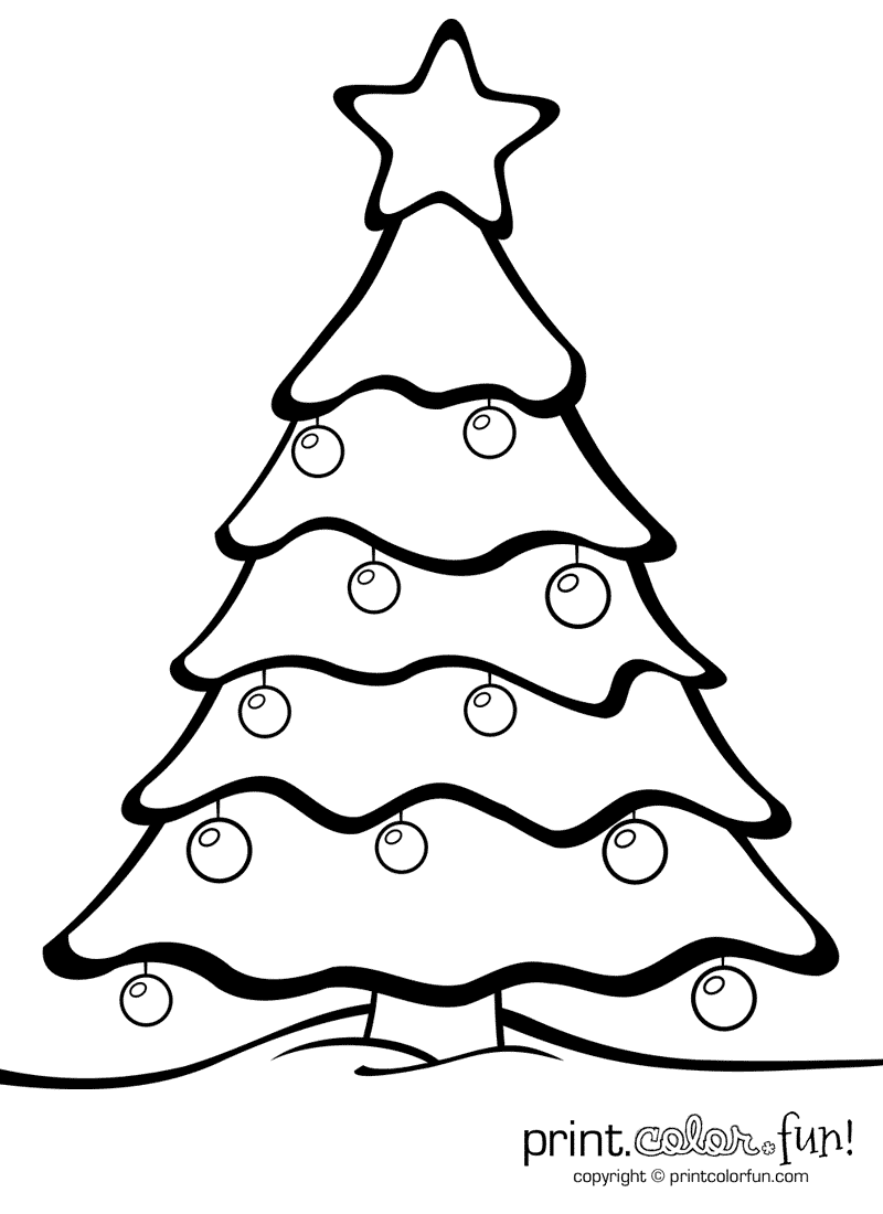 800x1100 Christmas Tree With Ornaments Coloring Page