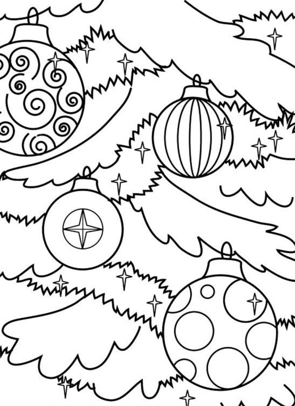 580x797 Unique Christmas Tree Ornaments Coloring Pages For Kids Christmas