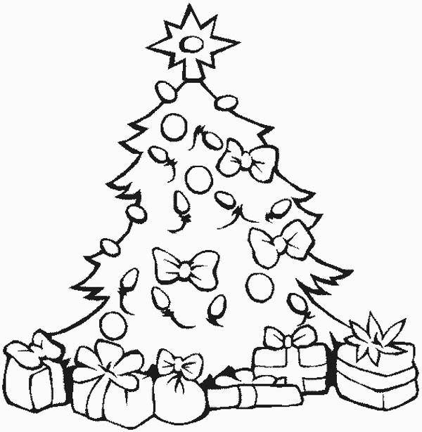 600x615 Stunning Christmas Tree With All The Ornaments And Gifts Coloring