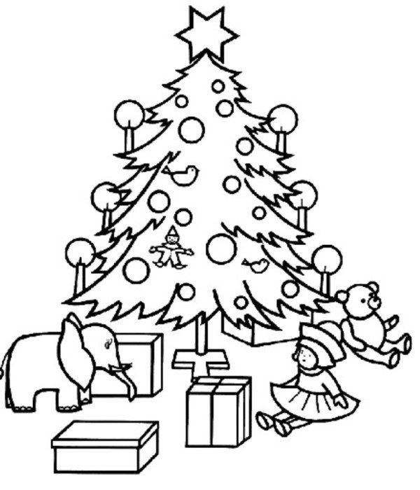 600x700 Christmas Tree Coloring Pages With Presents