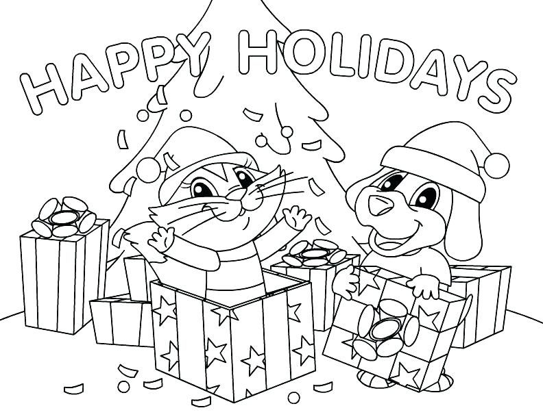 792x612 Christmas Tree Presents Coloring Page Pages Sheet Sheets Free