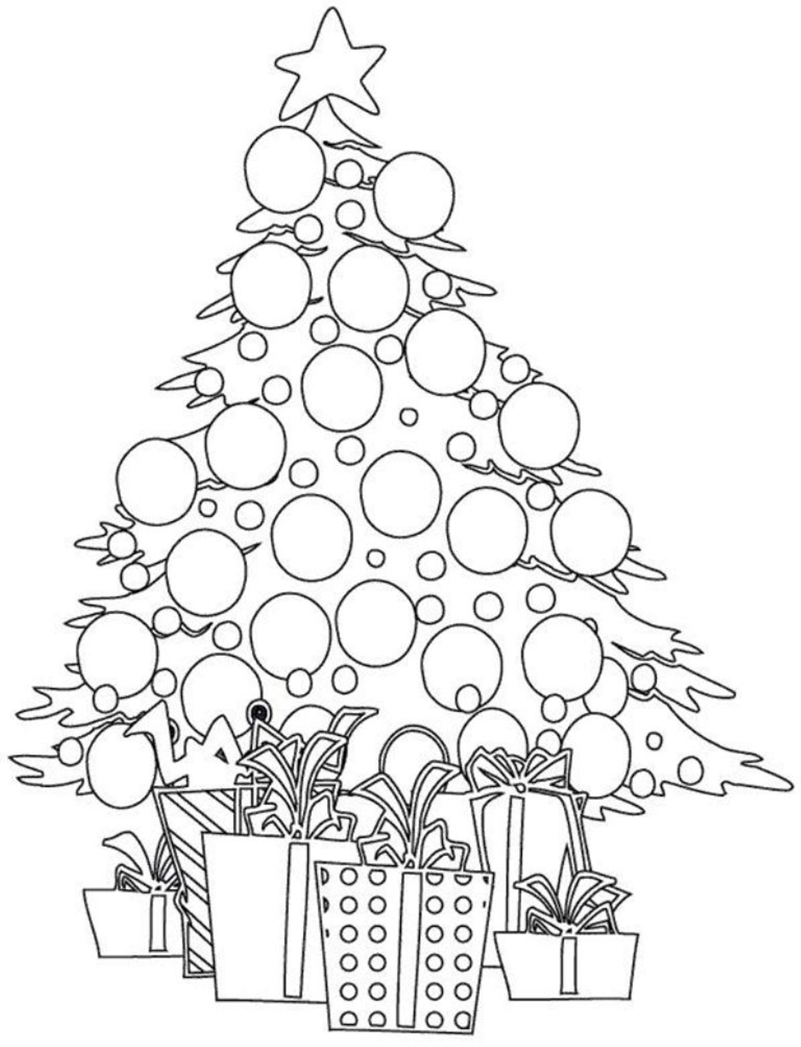 1620x2118 Christmas Tree With Presents Coloring Pages For Adults Download