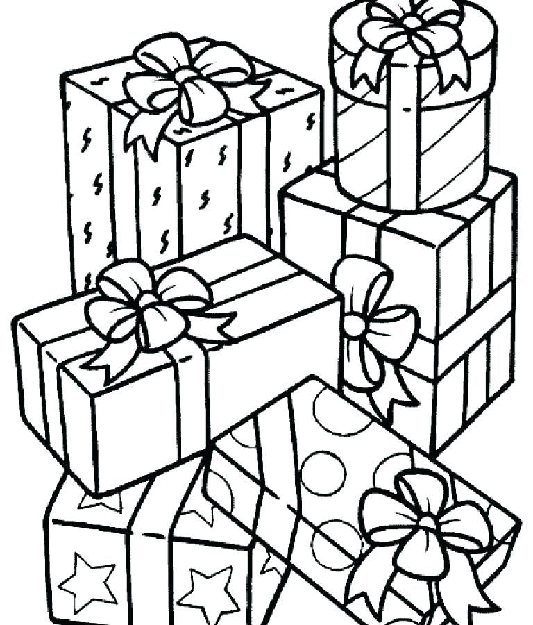 768x900 Christmas Present Coloring Page