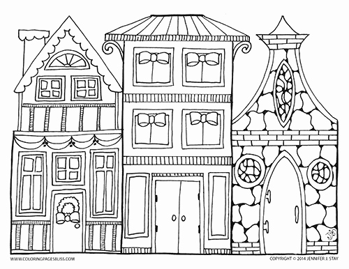 500x386 Christmas Village Coloring Page Printable Coloring Pages