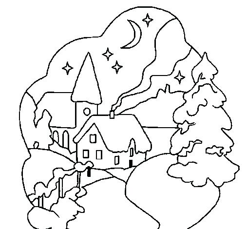 505x470 Christmas Village Coloring Pages Crew Free Printable Christmas