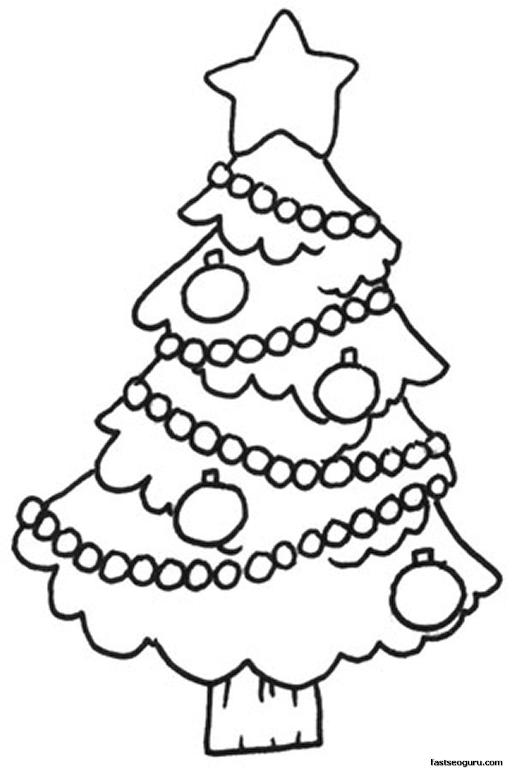 1052x1577 Decorated Christmas Tree Coloring Pages Printable, Christmas