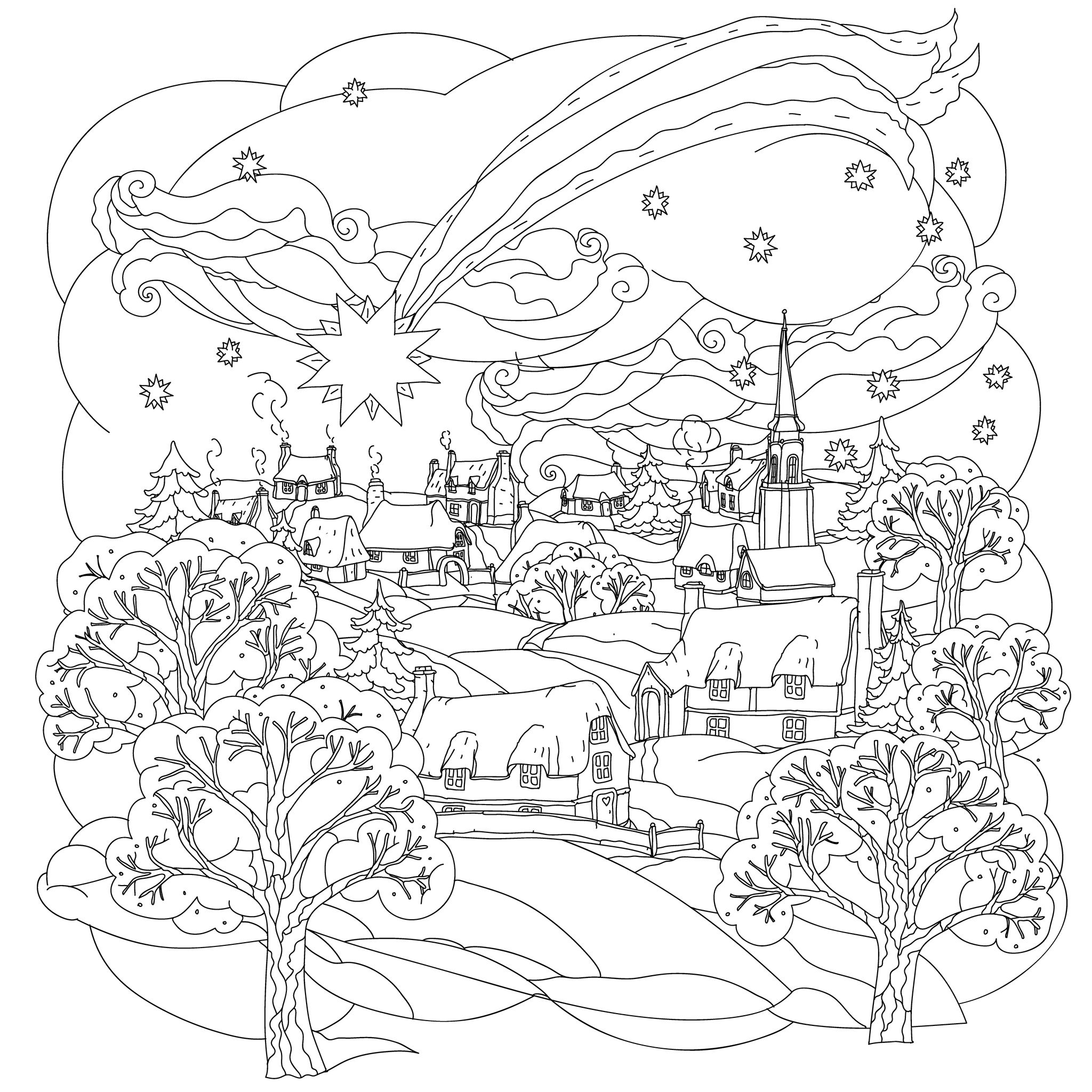 2048x2048 Winter Village Coloring Pages To Print Coloring For Kids