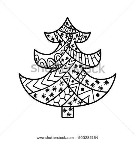 450x470 Christmas Tree Christmas Card In Zentangle Style For Adult Anti
