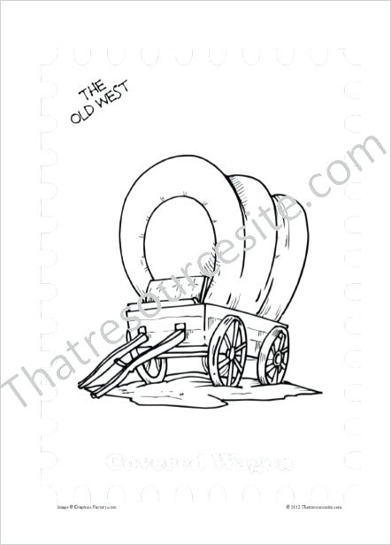 442x616 Covered Wagon Coloring Page Old West Coloring Sheet Featuring