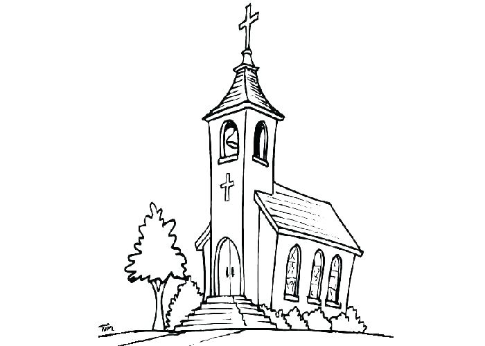 700x500 Church Coloring Page Church With Stained Glass Window Coloring