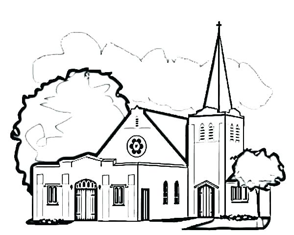 600x479 Awesome Church Coloring Page Awesome Church Coloring Pages