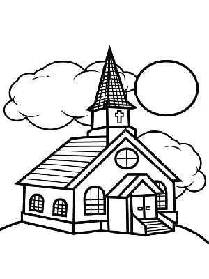 300x400 Church And Clouds Coloring Page