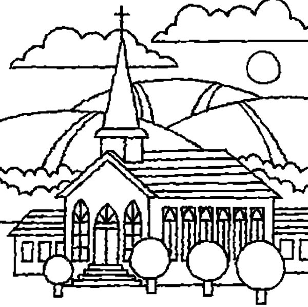 600x597 Church With Beautiful View Coloring Pages Church With Beautiful