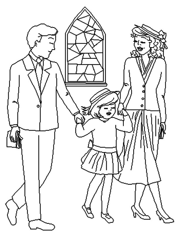 600x799 Joint Family Back From Church Coloring Pages Batch Coloring