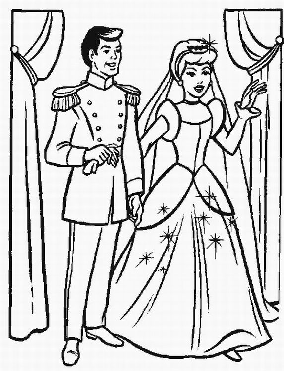 573x750 Cinderella And Prince Making Vow Coloring Page Cinderella Pages