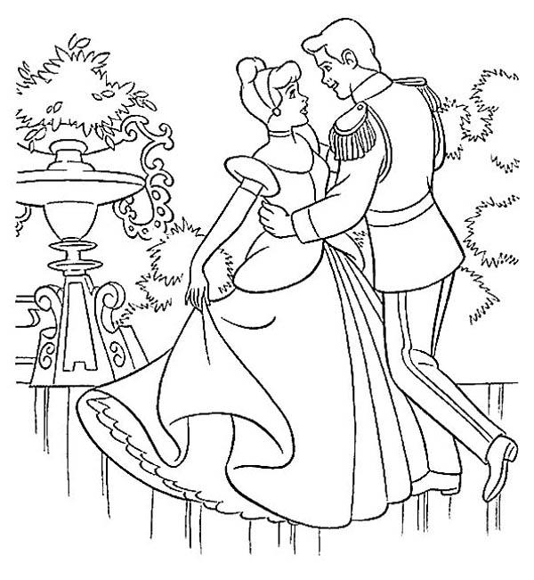 600x651 Prince Charming And Cinderella Dance In Cinderella Coloring Page