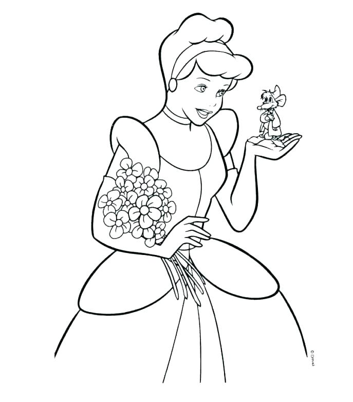 687x782 Printable Cinderella Coloring Pages