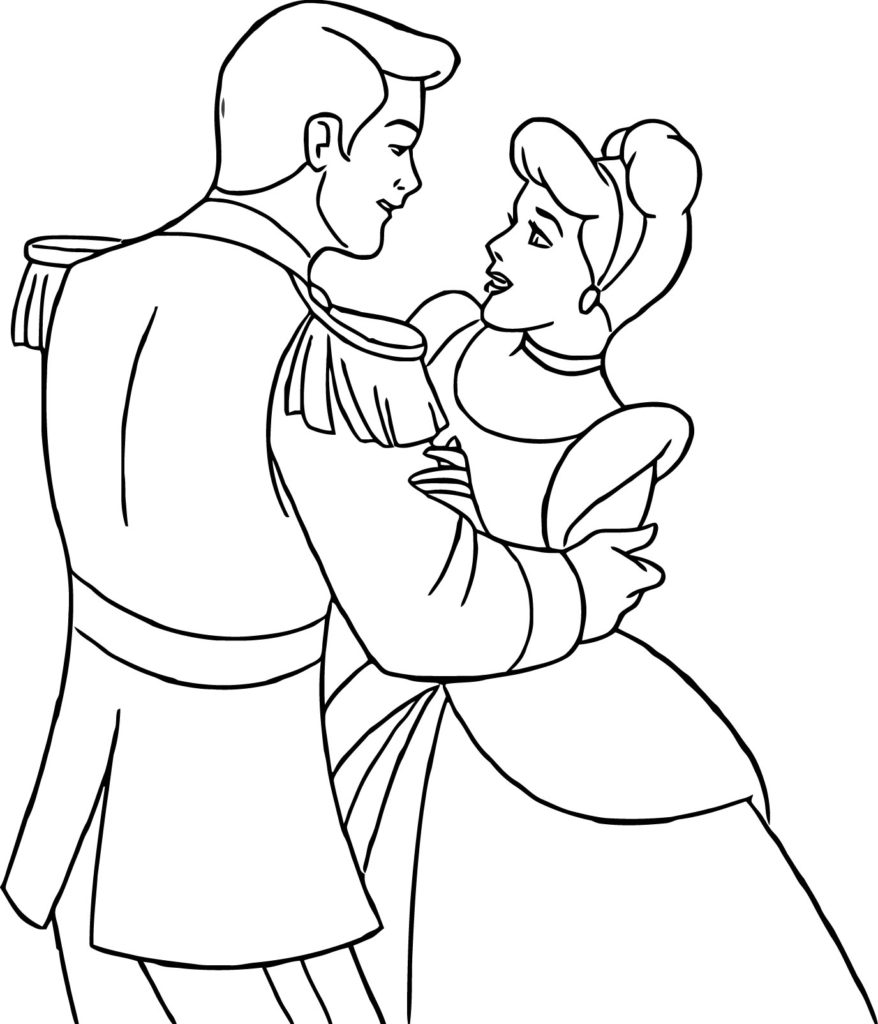 878x1024 Cinderella And Prince Charming Coloring Pages Wecoloringpage