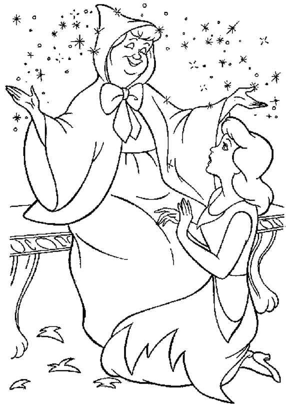 572x818 Cinderella Fairy Godmother Coloring Pages