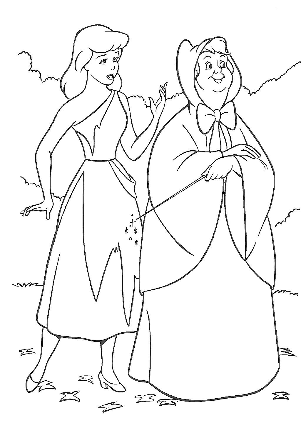 1024x1472 Cinderella Fairy Godmother Coloring Pages Coloring Page