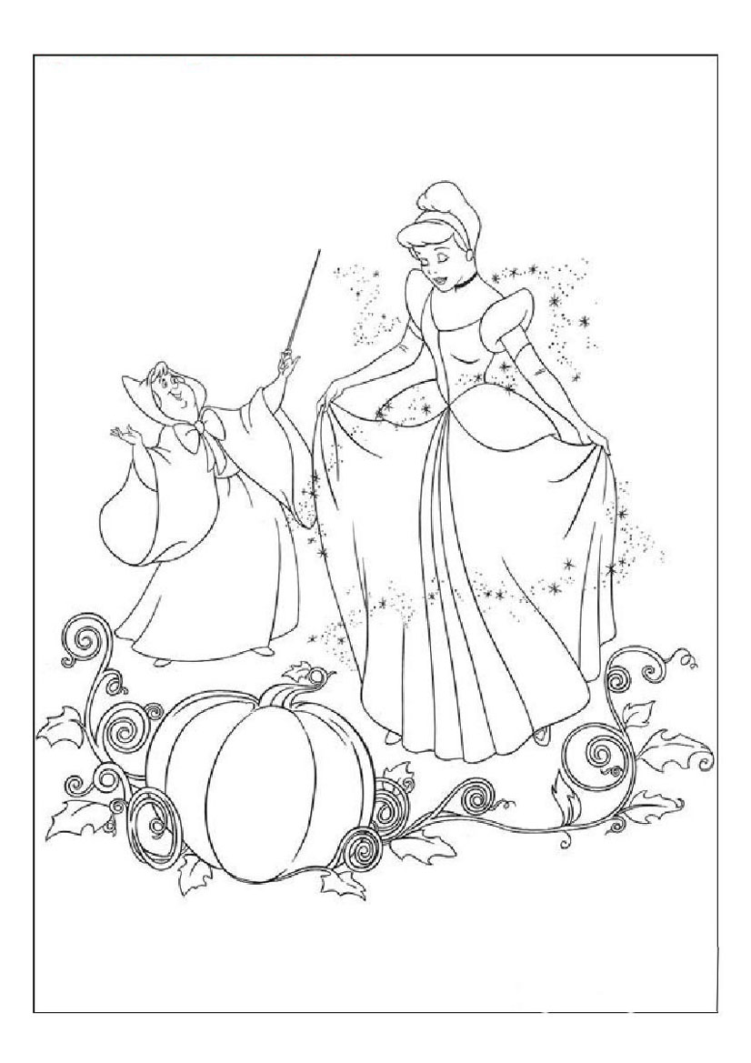 826x1169 Cinderella And Fairy Godmother's Magic Coloring Pages